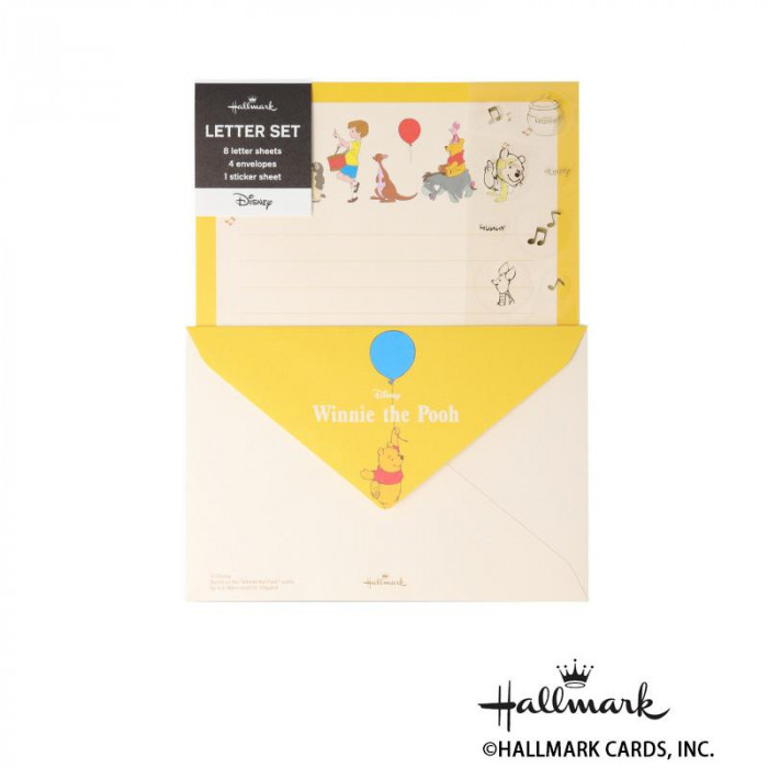 Hallmark ホールマーク ディズニー 便箋封筒セット シール・プー音楽隊 6セット 770440「NET Asahi」