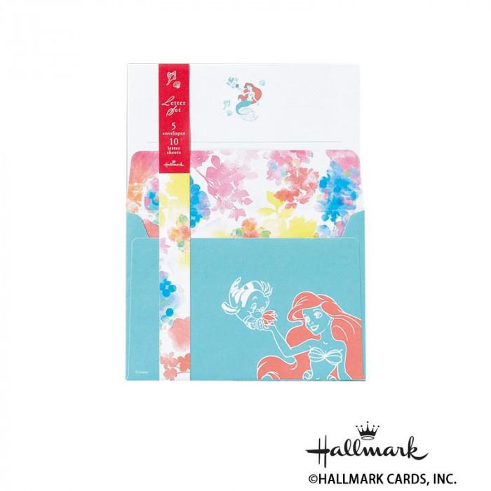 Hallmark ホールマーク ディズニー 便箋封筒セット アリエルフラワー 6セット 697662「NET Asahi」