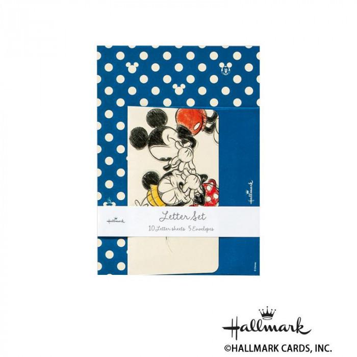 Hallmark ホールマーク ディズニー 便箋封筒セット ミッキードット青 6セット 650315「NET Asahi」