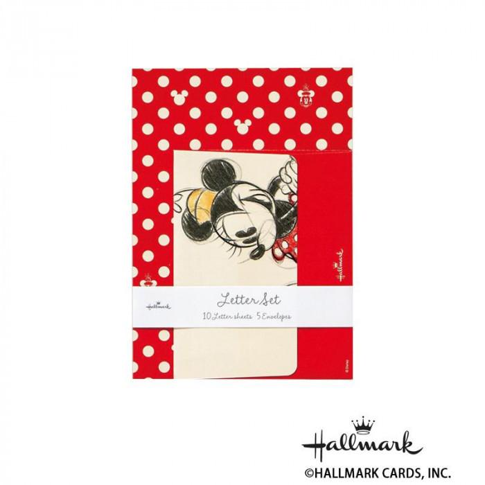 Hallmark ホールマーク ディズニー 便箋封筒セット ミニードット赤 6セット 650322「NET Asahi」