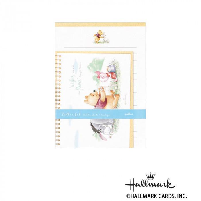 Hallmark ホールマーク ディズニー 便箋封筒セット プーと花飾り 6セット 669577「NET Asahi」